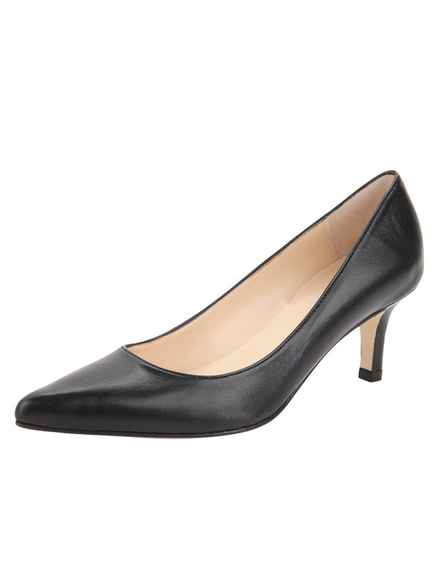Black Low Heel Pointed Toe Pump Full