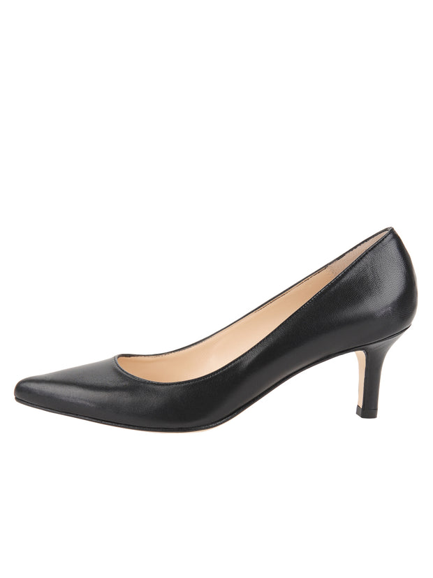 Black Low Heel Pointed Toe Pump Side  7