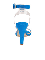 Women's Suede Blue Strap Buckle Sandal High Heel Front 2