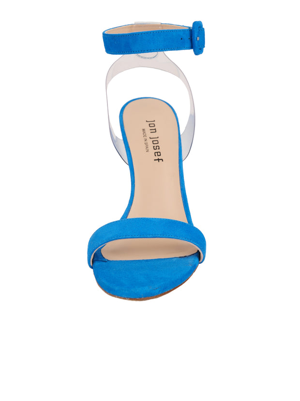 Women's Suede Blue Strap Buckle Sandal High Heel Back 4