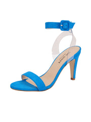 Women's Suede Blue Buckle Sandal High Heel Full