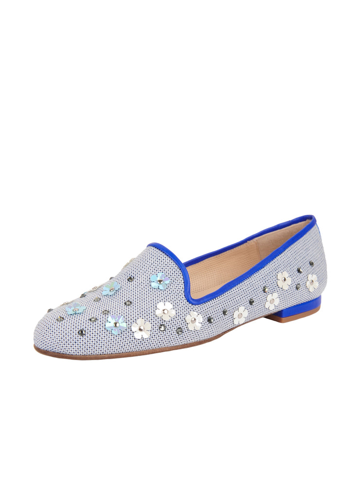 Women's Blue Flower Summer  Loafer Full
