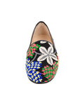 Women's Blue Flower Tapestry Loafer Front 4