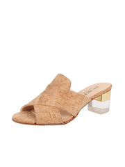 Women's Cork Cross Strap Sandal Block Heel Full