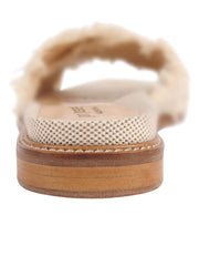 Linen Women's Slide Sandal with frayed edge Back 2