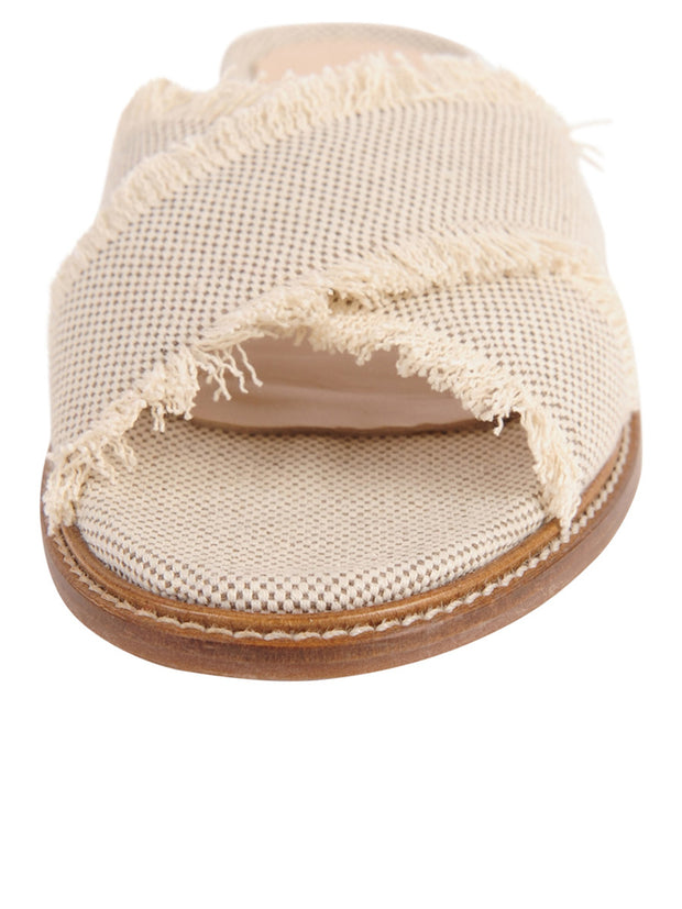 Linen Women's Slide Sandal with frayed edge Front 4