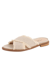 Linen Women's Slide Sandal with frayed edge Full