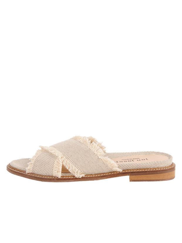 Linen Women's Slide Sandal with frayed edge Side 7