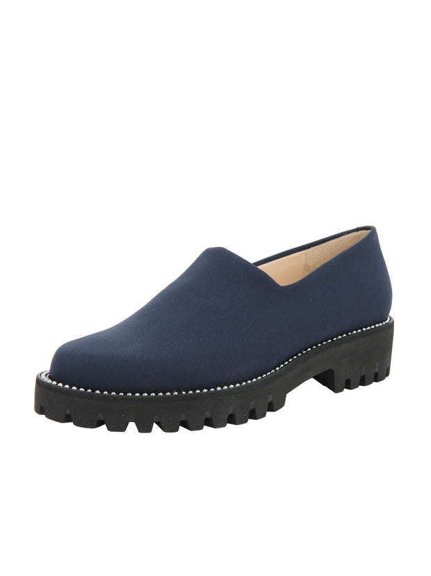 Navy Elastic Slip On Shoe Full