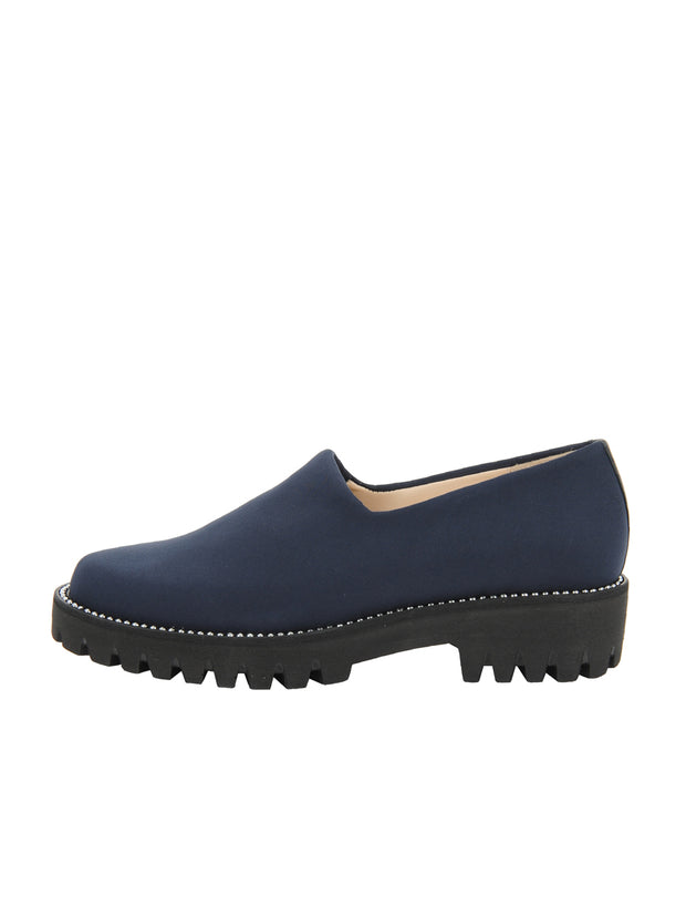 Navy Elastic Slip On Shoe Side 6