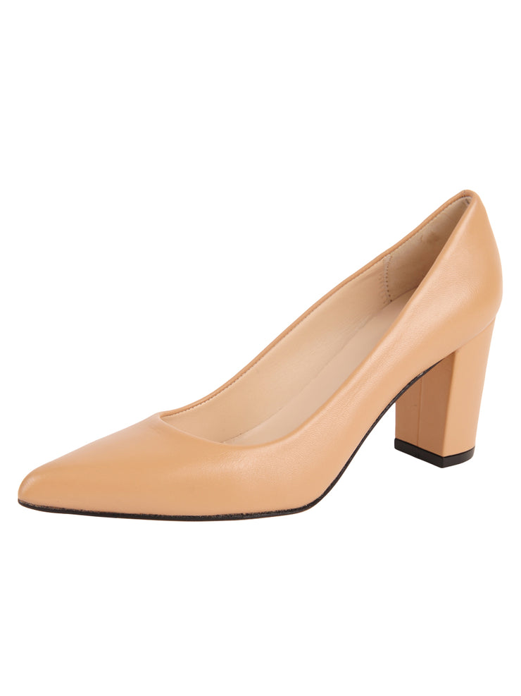 Ladies Nude Block Heel Shoe Full