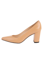 Ladies Nude Block Heel Shoe Side 7