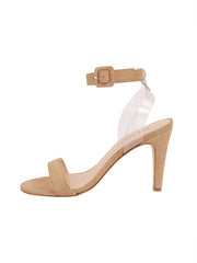 Women's Suede Nude Strap Buckle Sandal High Heel Side 6