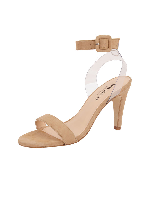 Women's Suede Nude Buckle Sandal High Heel Full