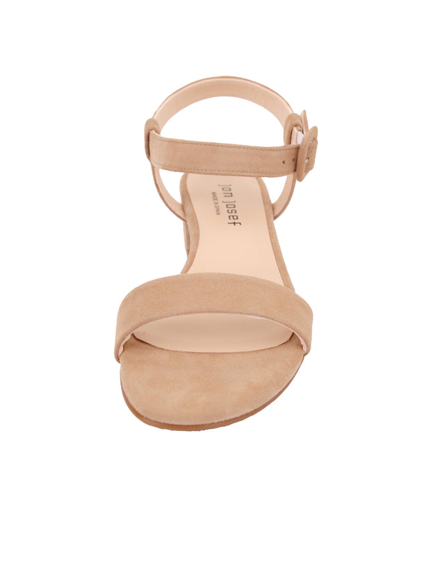 Nude Suede Strap Sandal Low Heel Front 4