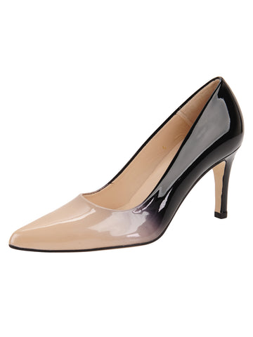 Nude and Black Patent Pointed Toe Heel Full