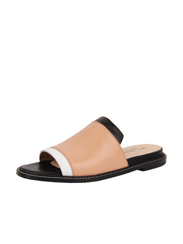 Nude and Black Leather Slide Sandal Full