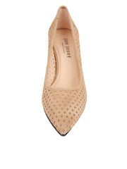 Tan Suede Pointed Toe Summer Heel Front 4