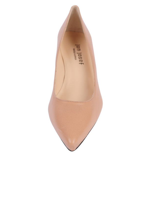 Nude Low Heel Pointed Toe Pump Front  4