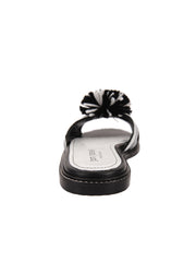 Black and White Raffia Slide Sandal Back 2