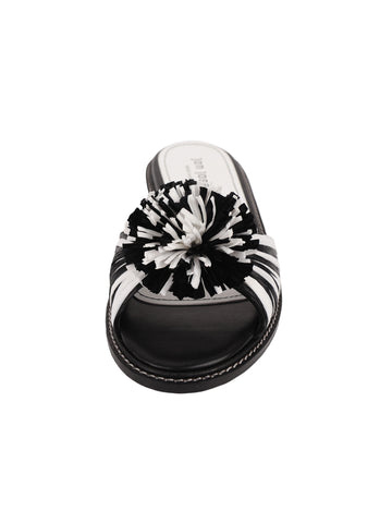 Black and White Raffia Slide Sandal Front 4 Alternate View