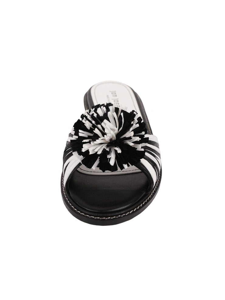 Black and White Raffia Slide Sandal Front 4