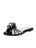 Black and White Raffia  Slide Sandal Full