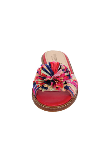 Rainbow Raffia Slide Sandal Front 4 Alternate View