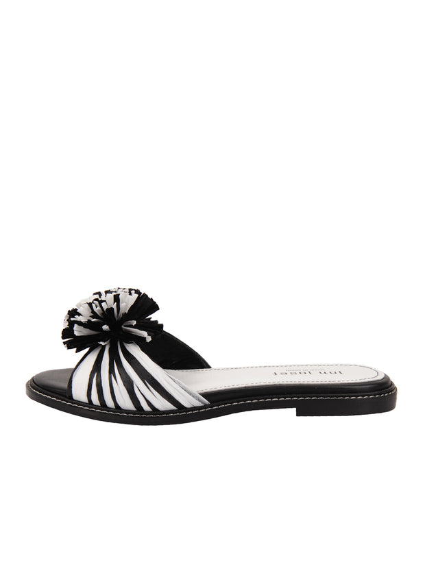 Black and White Raffia Slide Sandal Side 6
