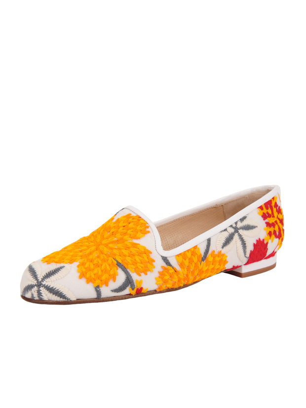 Women's Red Flower Tapestry Loafer Full