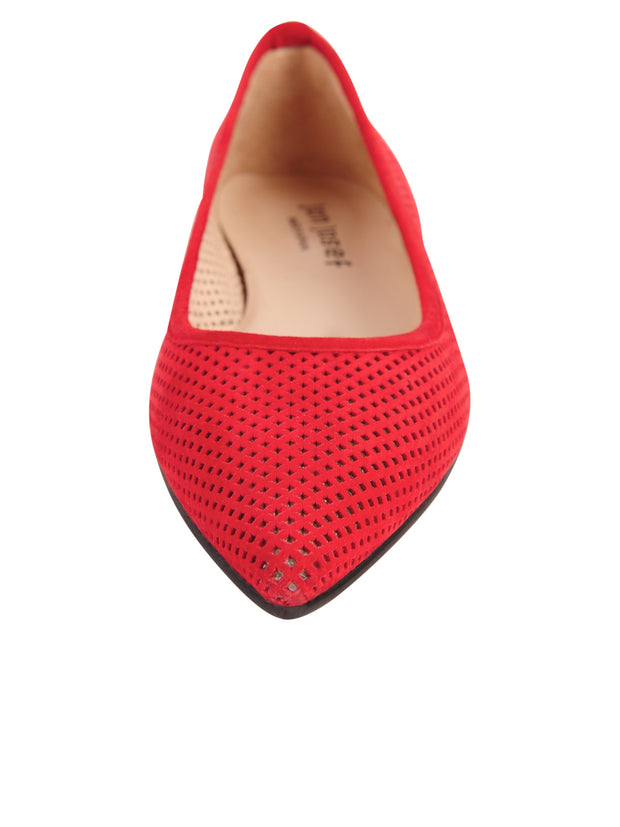 Red Suede Pointed Toe Summer Flat Front 4
