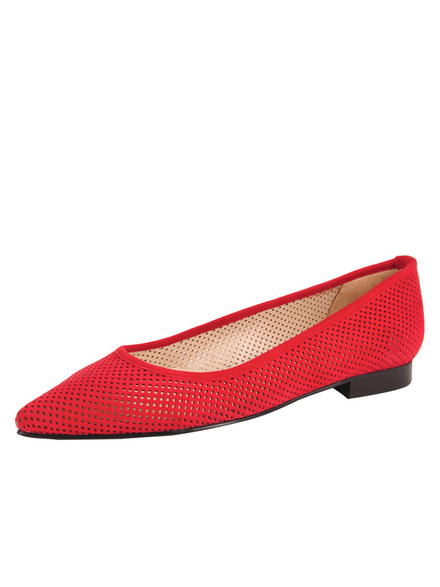 Red Suede Pointed Toe Summer Flat Full
