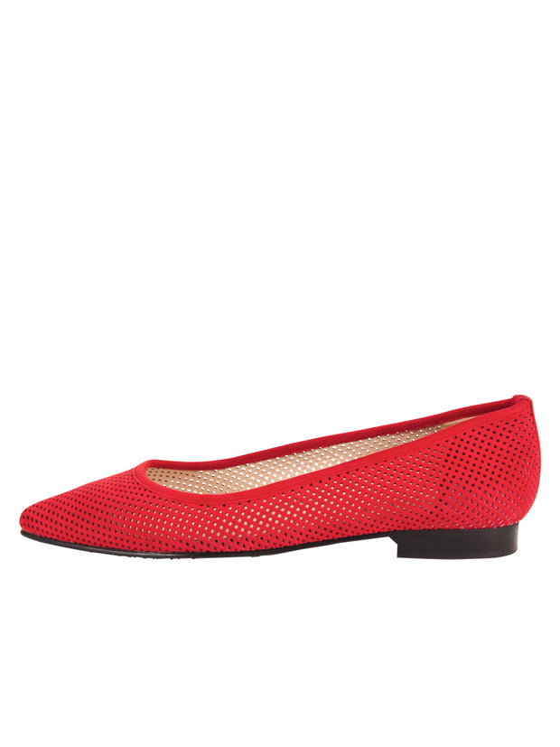 Red Suede Pointed Toe Summer Flat Side 7