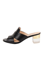 Women's Black Leather Cross Strap Sandal Block Heel Side 6