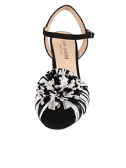 Black and White Raffia and Linen Sandal with Heel Front 4