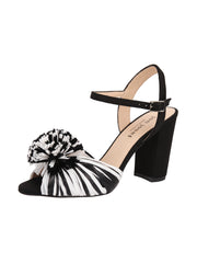 Black and White Raffia and Linen Sandal with Heel Full