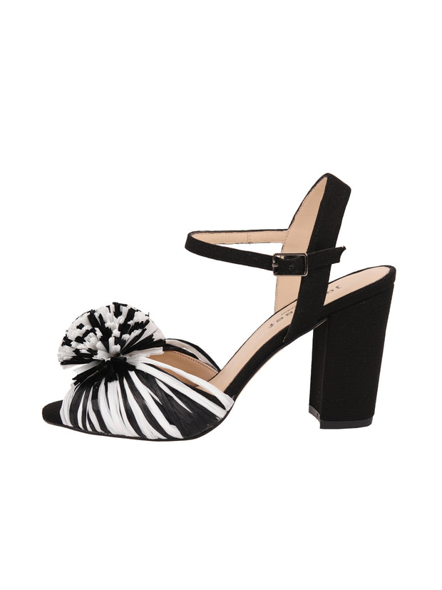 Black and White Raffia and Linen Sandal with Heel Side 6