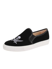 Black Velvet Skull Slip on Sneanker Full