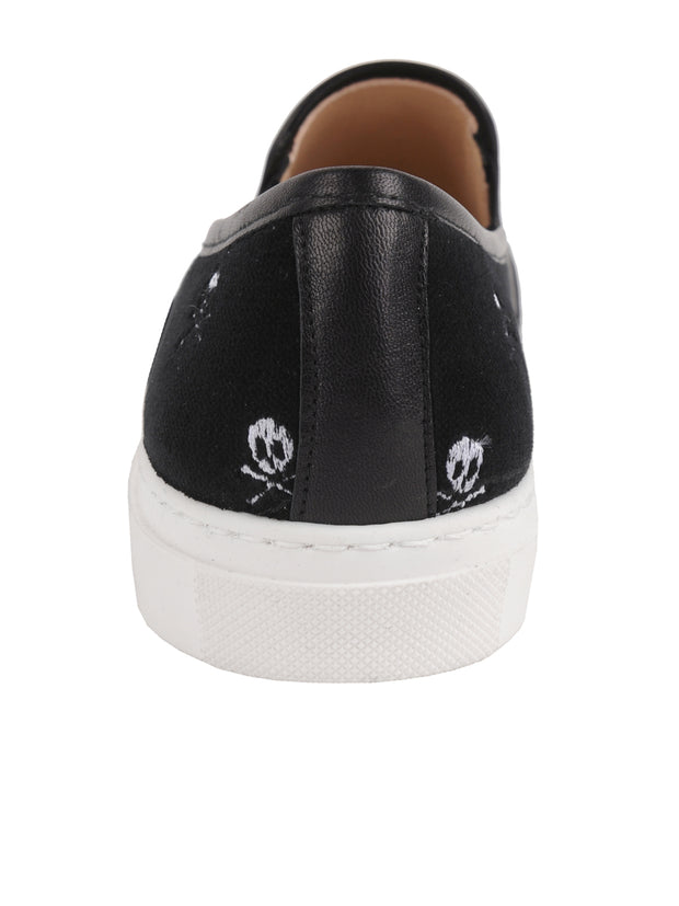 Black Velvet Skull Slip on Sneanker Back  2