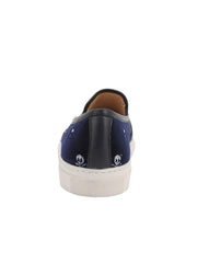 Navy Velvet Skull Slip on Sneanker Back  2