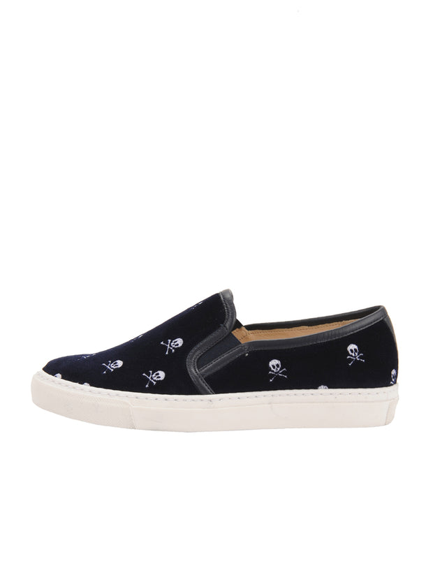 Navy Velvelt Slip on Sneanker Side 6