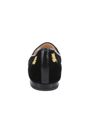 Women's Black Velvet Loafer with Flies Back 2