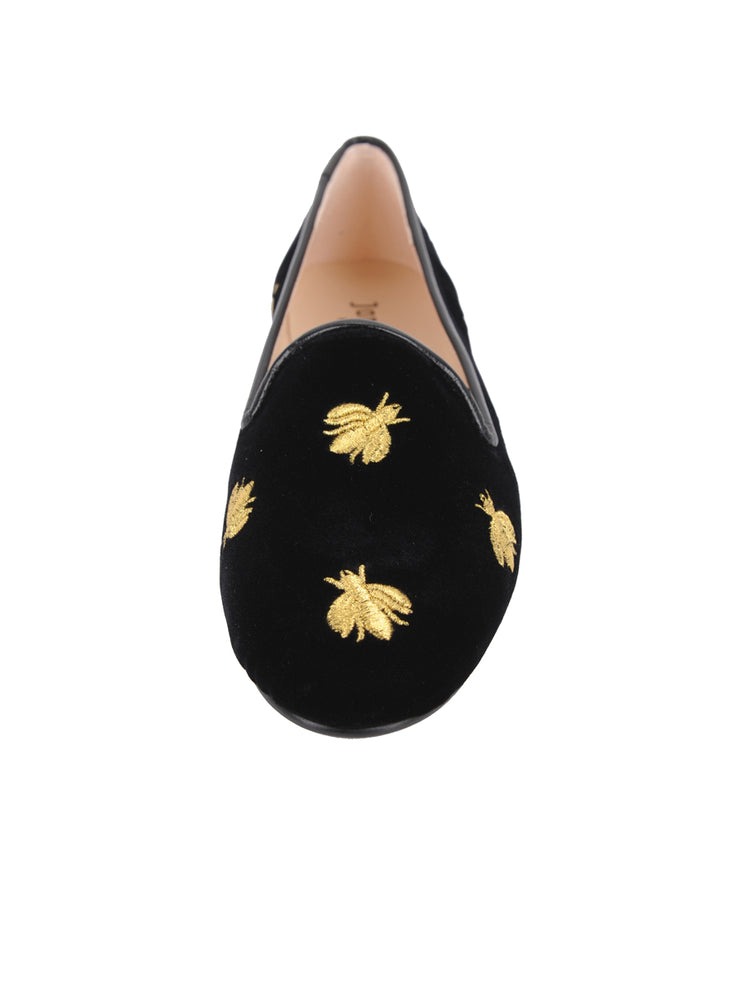 Women's Black Velvet Loafer with Flies Front 4