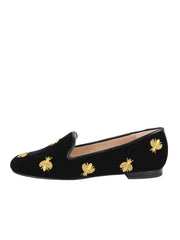 Women's Black Velvet Loafer with Flies Side 6