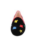 Women's Black Velvet Loafer Colored Flies Front 4