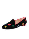 Women's Black Velvet Loafer Colored Flies Full