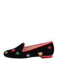 Women's Black Velvet Loafer Colored Flies Side 6