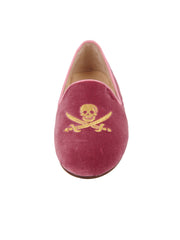 PINK Velvet Women's Smoking Shoe with Skull Front 4