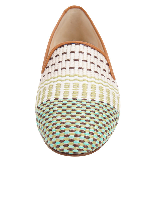 Womens Arias Green Raffia Flat 4
