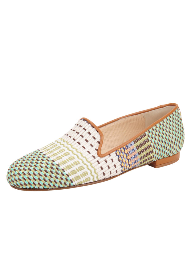 Womens Arias Green Raffia Flat